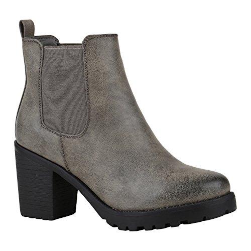 Trendige Damen Booties Chelsea Boots Profilsohle Stiefeletten High Heels Leder-Optik Schuhe Blockabsatz Animal Prints Glitzer Stiefel Flandell Stone Arriate