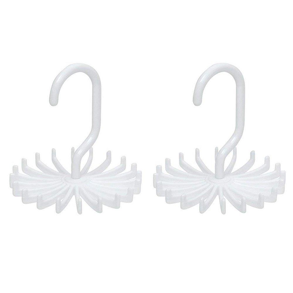 Tie Rack Belt Hanger Scarf Holder Hook for Closet Organizers,360 Degree Rotating 20 Hooks,2Pcs Wishesport Tie Rack Belt Hanger Scarf Holder Hook for Closet Organizers, 360 Degree Rotating (White) SD27