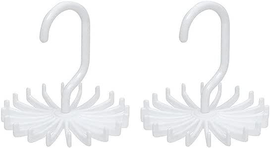 Tie Rack Belt Hanger Scarf Holder Hook for Closet Organizers,360 Degree Rotating 20 Hooks,2Pcs Wishesport Tie Rack Belt Hanger Scarf Holder Hook for Closet Organizers, 360 Degree Rotating (White)