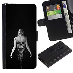 NEECELL GIFT forCITY // Billetera de cuero Caso Cubierta de protección Carcasa / Leather Wallet Case for Samsung Galaxy S3 MINI 8190 // Esqueleto Mujer Goth