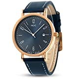MDC Mens Classic Leather Watches Fashion Business Casual Wrist Watch for Men with Date