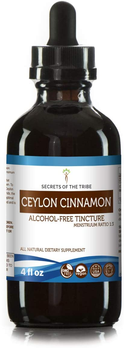 Ceylon Cinnamon Tincture Alcohol-Free Liquid Extract, Organic Ceylon Cinnamon Cinnamomum Verum Dried Bark 4 FL OZ