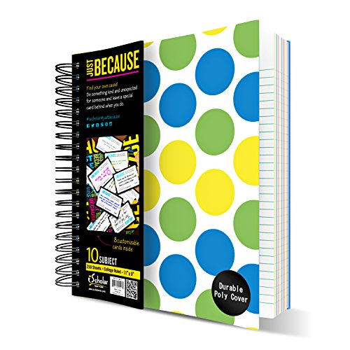 iScholar IQ Poly Cover 10 Subject Notebook, Double Wired, 11 x 8.5 Inches, 250 Sheets, Assorted Design Covers (For Boys) (58910)