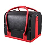HOMFA Professional Large Removable PU Leather Cosmetic Makeup Vanity Box Jewelry Saloon Case Bag (Black)