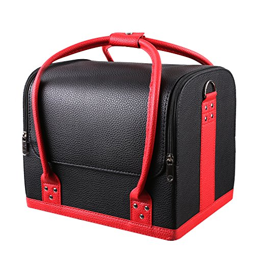 Leather Vanity Case - HOMFA Professional Large Removable PU Leather Cosmetic Makeup Vanity Box Jewelry Saloon Case Bag (Black)