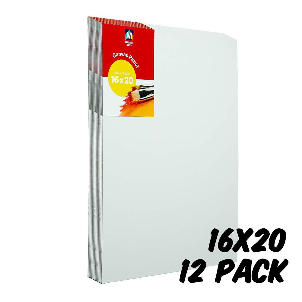 Markin Arts Classic Series Heat Pressed Hi-Density Acid/Discoloration Free 100% Cotton Medium Weight 10oz Triple Titanium Acrylic Gesso Primed Canvas Panel Board Oil Paint 16x20'' 12-Pack
