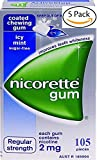 Nicorette Icy Mint Nicotine Gums 2mg. 5 Boxes of 105 each. 525 coated gums. Regular Strength