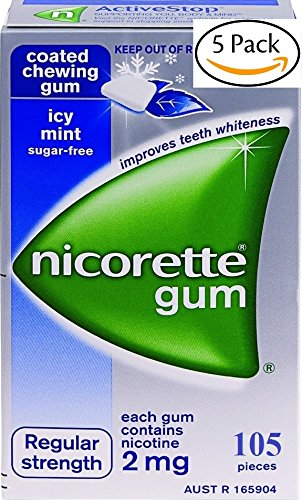 Nicorette Icy Mint Nicotine Gums 2mg. 5 Boxes of 105 each. 525 coated gums. Regular Strength by Icy Mint