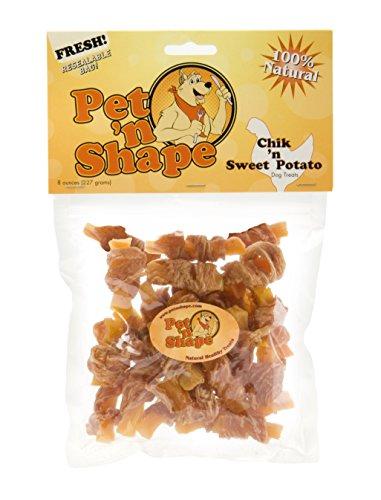 Pet 'n Shape Chik 'n Sweet Potato Natural Dog Treats, 8-Ounce - Rawhide Bone Shape
