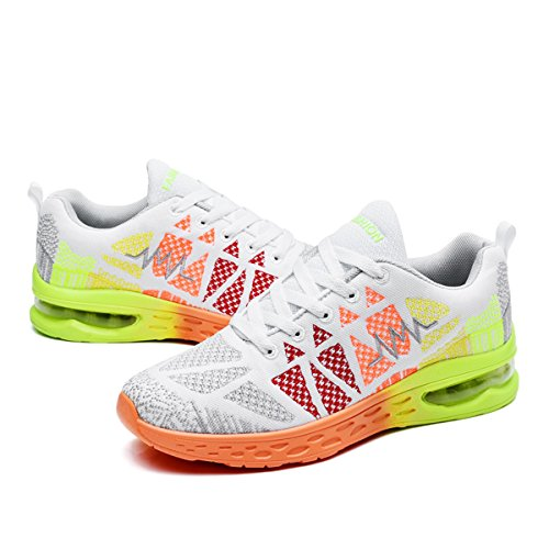 JARLIF Womens Athletic Running Sneakers Fashion Sport Air Fitness Workout Gym Jogging Walking Shoes US5.5-10 White SDEqQMg