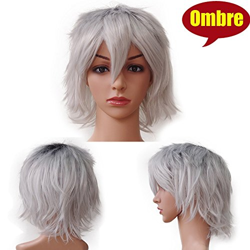 S-noilite Unsex Short Straight Ombre Cosplay Synthetic Hair Wigs for Women Men Anime Party Costum (Black to Silver Grey)