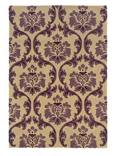 Linon Hand Tufted Trio Collection Paper Purple Polyester Rug (1'10 X 2'10) - Trio Collection Rectangular Rug