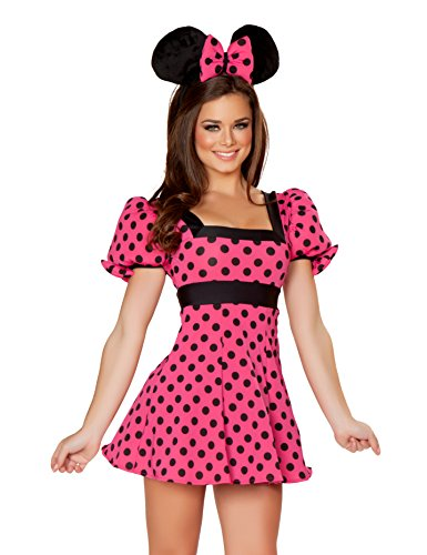 J. Valentine Women's Party Mouse Costume, Hot Pink/Black, (Mouse Trap Halloween Costume)
