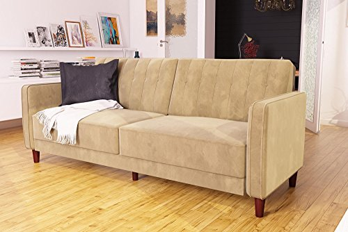 Sofa Tan Fabric - DHP DZ17552 Ivana Tufted Futon, Tan Velvet