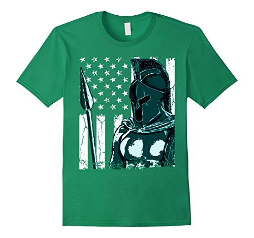 Mens Spartan Warrior American Flag T-shirt Large Kelly Green