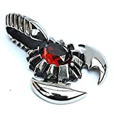 Men's Stainless Steel Necklace Pendant Scorpion Red CZ Silver 4.9*3.2cm