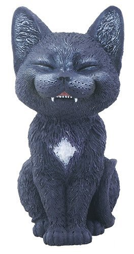 Black Laughing Kitty Cat Teehee Themed Decorative Figurine Statue -