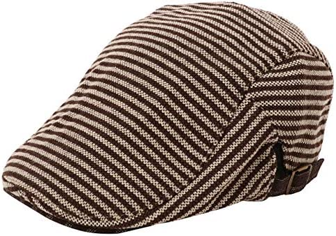 ハンチング 帽子 メンズ 秋冬 56~61cm-サイズ調節-厚め-カジュアル-ボーダー-キャップ-アウトドア-ゴルフ-旅行【KurtMash】