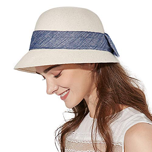 Siggi Womens Floppy Summer Sun Beach Straw Hats SPF50+ Crushable Bucket Cloche Hat 56-59cm White