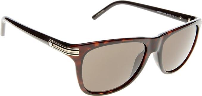 be0203344d41 Montblanc MB502S C56 52E (dark havana   brown) Polarized Sunglasses   Amazon.co.uk  Clothing