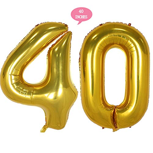 Bechampion 40 Inch Gold 40 Jumbo Digital Number Balloons Huge Giant Balloons Foil Mylar Number Balloons for 40th Birthday Party Decorations and 40th Anniversary Event]()