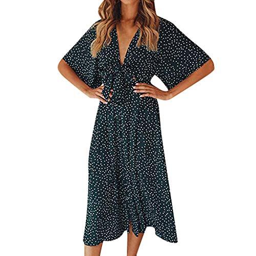 Rakkiss Women Vintage Skirt Boho Polka Dot Print Mini Skirt Short Sleeve Casual Dress Summer Elegant Dress Green