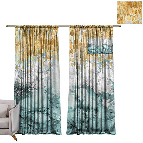 berrly Custom Curtains Drusy Chrysocolla Boulder, Drusy Means There are Shiny White Quartz Crystals W72 x L84 Grommet Window Drapes
