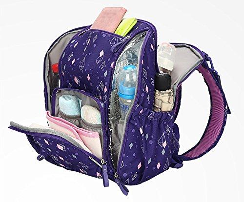 Hombro bolsa de la madre multi-funcional de gran capacidad de la mochila de la madre impermeable a salir mujeres embarazadas a ser madre en el paquete de ley ( Color : Purple ) Purple