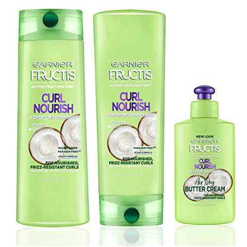 Garnier Fructis Triple Nutrition Curl Nourish Shampoo, Conditioner + Leave-In Conditioner Kit, (Personal Size S&C)