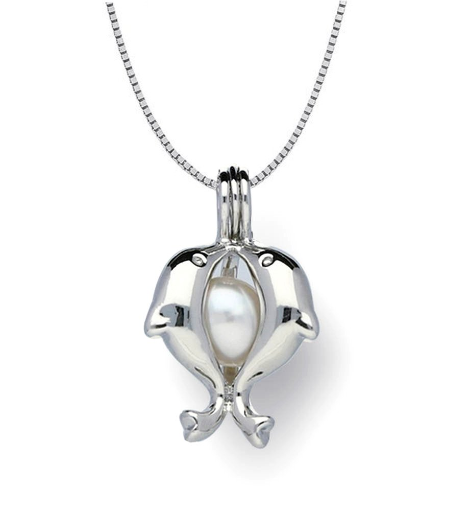 Pearlina Sterling Silver Dolphins Necklace Cultured Pearl in Oyster Cage Wish Pearl Set, 18'' by Pearlina (Image #3)