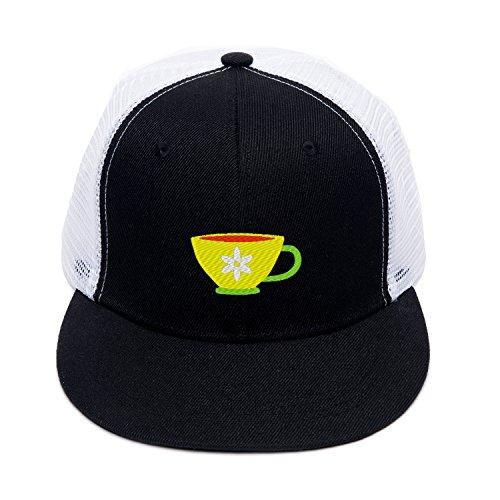Embroidered Flower Tea Cup Sports Caps Hip Hop Hat Street Dance Cap (Flower Tea Cup1) (Wreath Teacup)