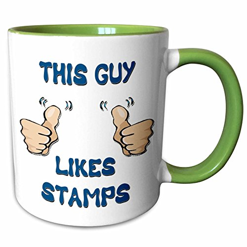 3dRose Blonde Designs This Guy Likes With Thumbs - This Guy Likes Stamps - 11oz Two-Tone Green Mug (mug_150476_7)