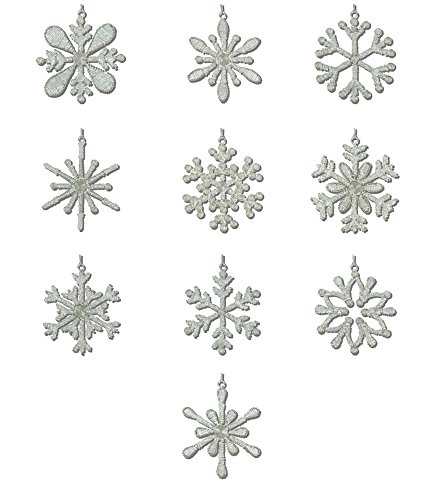 Snowflake Beaded Ornaments (ShalinIndia Handmade Snowflake Party Decorations Iron and Glass 10 Different Light Weight Christmas Tree Ornaments 4 Inches)