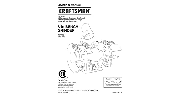 Cool Craftsman 152 211640 Bench Grinder Owners Instruction Manual Alphanode Cool Chair Designs And Ideas Alphanodeonline
