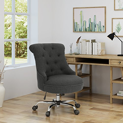Christopher Knight Home 304960 Tyesha Desk Chair, Dark Gray + Chrome