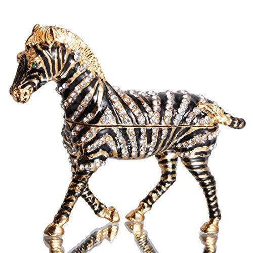 Waltz&F Hand-Painted Zebra Trinket Box Animal Jewelrybox Figurine Collectible Ring Holder with Gift Box