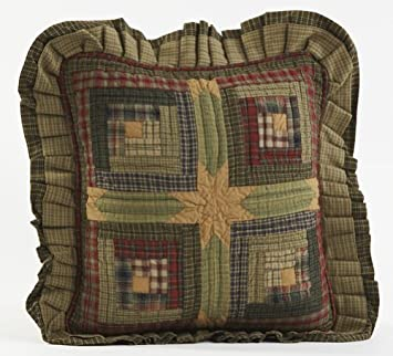 VHC Brands Rustic Lodge Pillows Throws – Tea Cabin Green Quilted 16 x 16 Pillow,