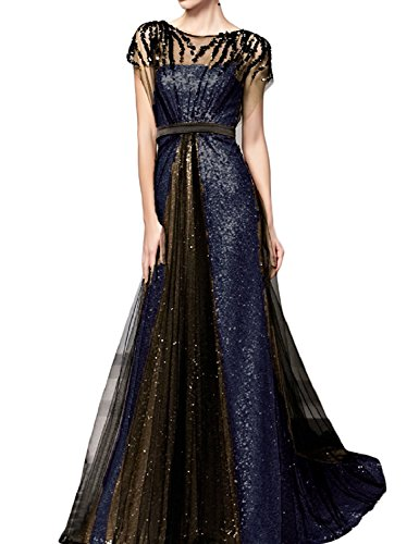 H Evening Formal Blue Women's Navy Long S Line A amp;black Party Gowns Beaded Dresses Sequins D rvrqP6wa