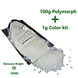 100g<3.5 oz> PCL+1g color pigments plastimake polymorph instamorph moldable plastic thermoplastic polyester pellet used for molding (100g PCL+1g Black)