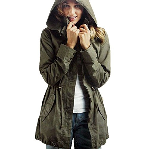 Vedem Women's Hooded Drawstring Military Jacket Parka Coat Army Green (XL)