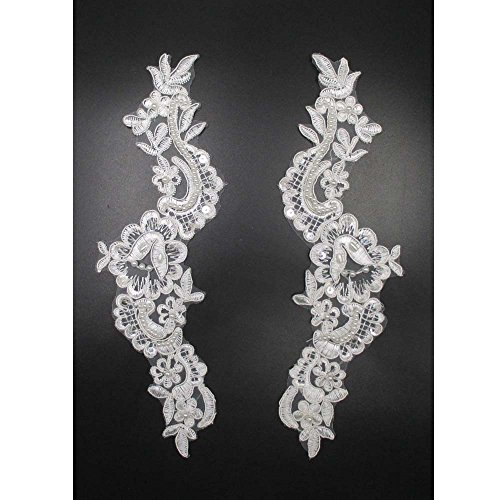 Flower Pattern Sequin Trim Faux Pearls Beaded Lace Appliques Decorative (Beaded Flower Patterns)