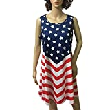 Axchongery Women Dress,Sexy American Flag Shirt Independence Day A-Line Skirt Vest Shirt (Red, L)