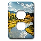 3dRose Danita Delimont - Rivers - Autumn, Lava Creek, Grand Teton National Park, Wyoming, USA - Light Switch Covers - 2 plug outlet cover (lsp_279834_6)