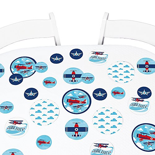 Big Dot of Happiness Taking Flight - Airplane - Vintage Plane Baby Shower or Birthday Party Giant Circle Confetti - Party Decorations - Large Confetti 27 Count