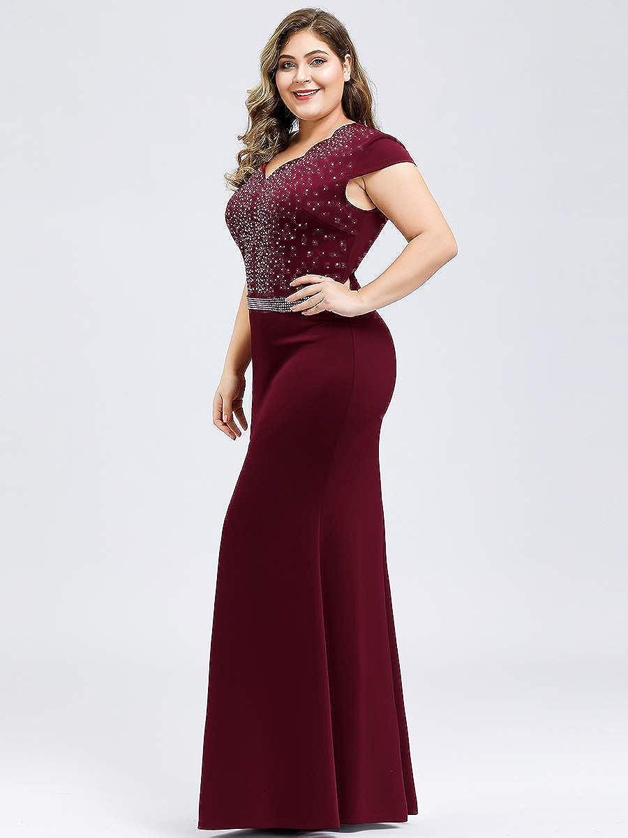 Ever-Pretty Womens V Neck Floor Length Empire Waist Cap Sleeve Jersey Knit Plus Size Mermaid Evening Dresses EZ07623