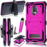 Moto Z2 Play/Moto Z2 Force Edition 2017 Case,Heavy Duty Shockproof[Kickstand][Belt Swivel Clip] Dual-Layer Full-Body Armor Rugged Protection Case with Built-in Screen Protector(Free Stylus) (Magenta)