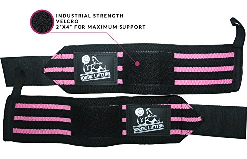 Nordic Lifting Wrist Wraps and Lifting Straps Bundle (2 Pairs) -  Black/Pink