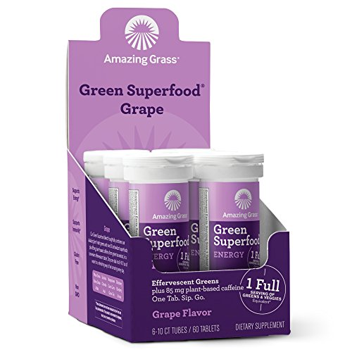 Energy Grape Flavor (Amazing Grass, Green Superfood Effervescent Energy 60 Count Tablets, with Alkalizing Green and Antioxidant Blend, Flavor: Grape)