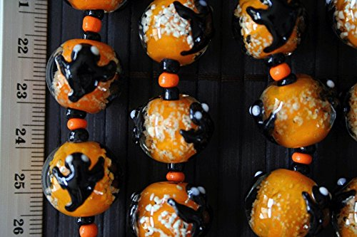 Halloween Cute Ghost Glow In Dark Orange Lampwork Glass Beads(Pack of 12 (Halloween Lampwork Glass Beads)