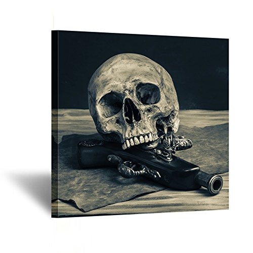 Kreative Arts - Abstract Skull with a Gun Wall Art Canvas Painting Vintage Poster Prints Home Decor Wall Picture For Living Room Gift Hanging Wall Decor Picture 24x24inch (Canvas Painting Poster)